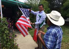 Reyes has two children who were born in America and served in the U.S. military. Felix Cortez helped raise the flags correctly on Thursday.