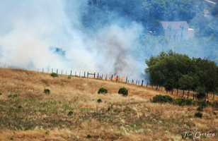 The fire began at 12:30 p.m. on the 300 block of Golf Club Drive off Highway 9. Smoke was visible from nearby neighborhoods.