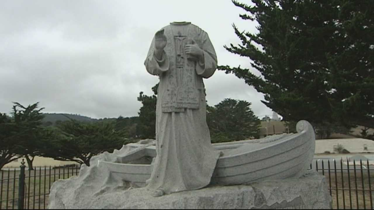 The Junipero Serra statue at Presidio Park was decapitated on Thursday.