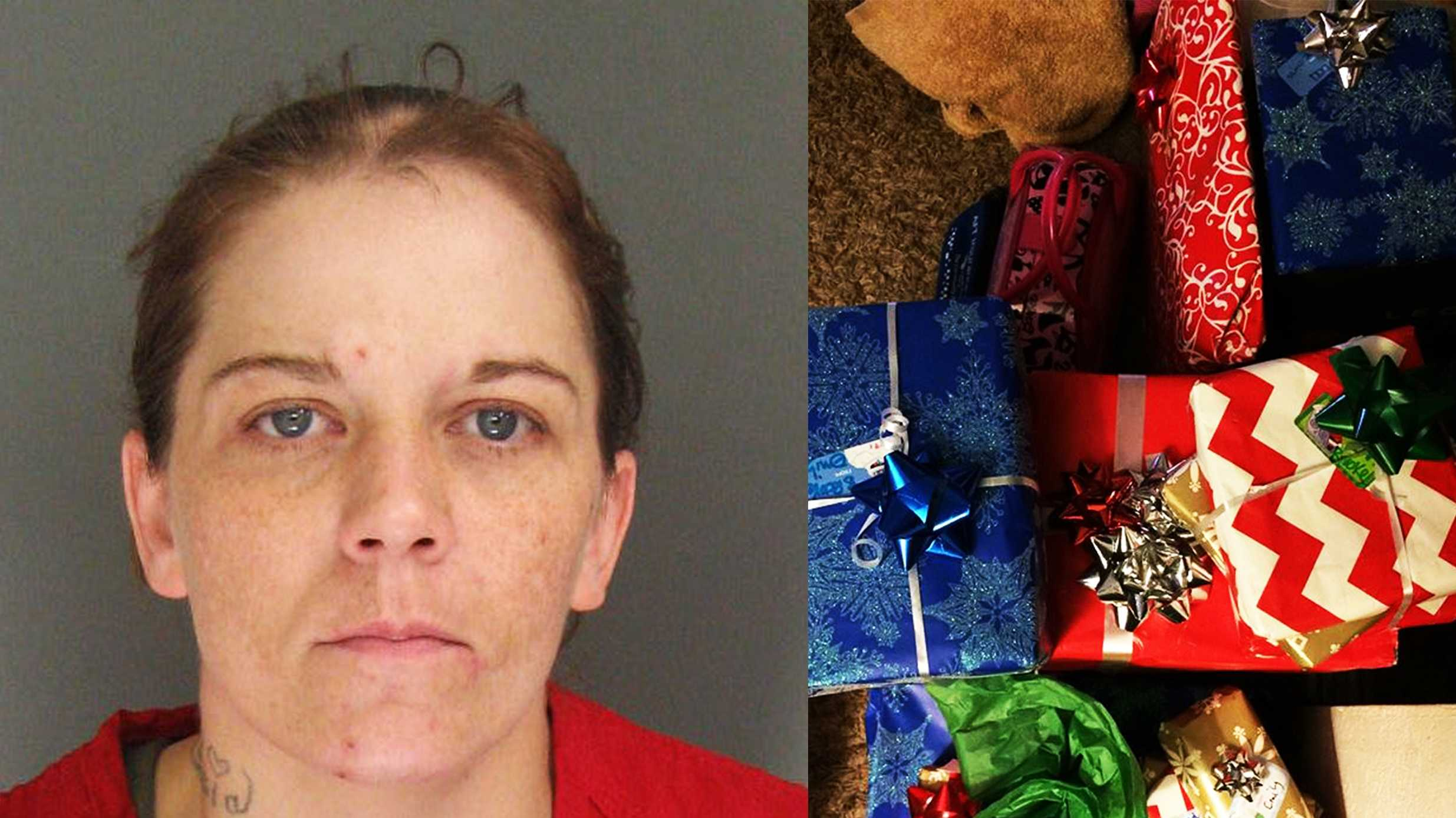 Emily Faye Duncan, left, and Christmas presents that deputies found in her house, right.