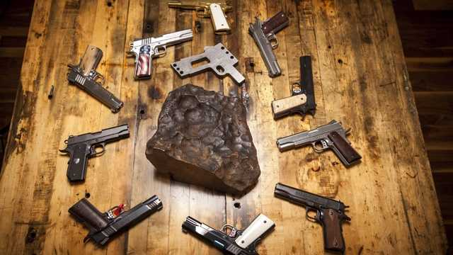 Pistols made from meteorite