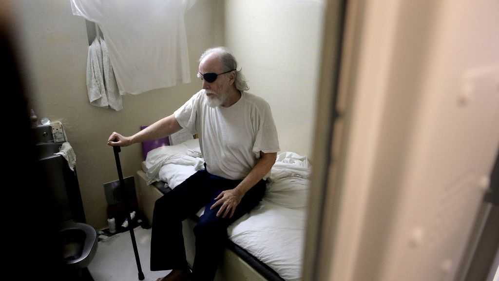 Douglas Clark, in prison for a mass murder in 1980, is seen inside his cell at San Quentin State Prison on December 29, 2015, in San Quentin, Calif.