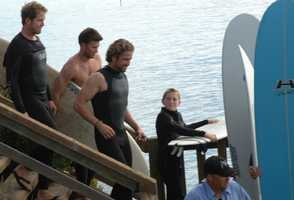 Gerard Butler is seen on set in Capitola. (Oct. 14, 2011)