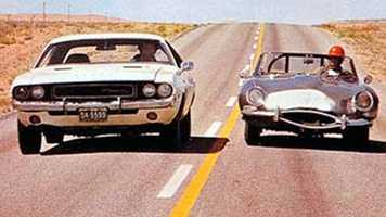 """And there goes the Challenger, being chased by the blue, blue meanies on wheels. The vicious traffic squad cars are after our lone driver, the last American hero, the electric centaur, the, the demi-god, the super driver of the golden west!"" -- ""Vanishing Point"" (1971)"