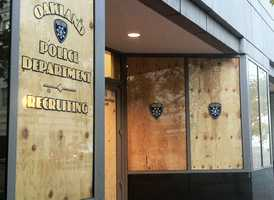 A police station is boarded up during Occupy Oakland protests.