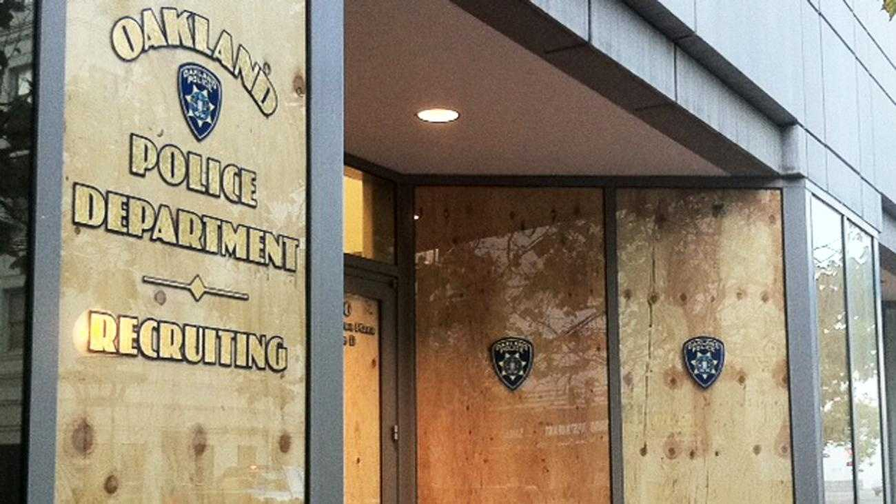 An Oakland police station is boarded up. (Nov. 2, 2011)