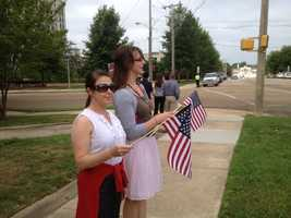 Supporters line up for a final patrol for Pearl Police Department investigator Mike Walter who was killed in a shootout.