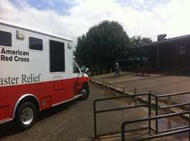 The American Red Cross opens a shelter at Harrison Central High School.