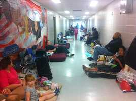 More than 200 people were at the shelter Tuesday morning.