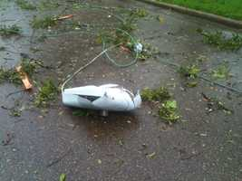 Storm damage was reported in Vicksburg.