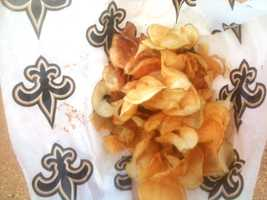 Saints fans love the ribbon fries at the Mississippi State Fair.