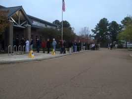 The line to vote formed early at the library in Flowood. About 100 people were there by 6:30 a.m.