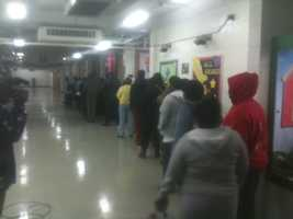 There was also a long line before the polls opened at Oak Forest Elementary School in Jackson.