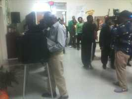 Voters at Oak Forest Elementary School.
