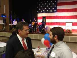 U.S. Rep. Gregg Harper talks to a supporter on election night.