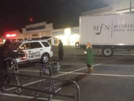 16 WAPT News crews set up early at the Kroger on Interstate 55.
