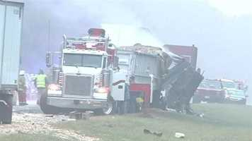 The driver of the first semi-truck, Ronald Perot of Texas, was not injured, authorities said.