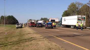 An MHP cruiser is one of four vehicles involved in a crash on Interstate 20 at Gallatin Street.