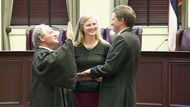 Josiah Coleman is sworn in as a Mississippi Supreme Court justice.