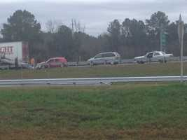 Traffic was backed up Friday morning because of wrecks on Interstate 20.