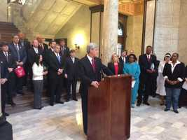 Gov. Phil Bryant attends a news conference in which he speaks out against abortion.
