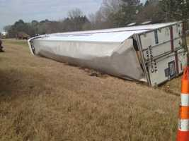 An 18-wheeler flipped on its side Wednesday on Interstate 20 westbound near Edwards.