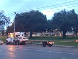The storms snapped a power pole on State Street at UMC.