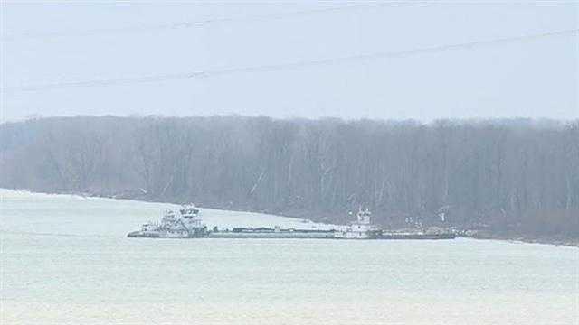 Barge on Mississipi River