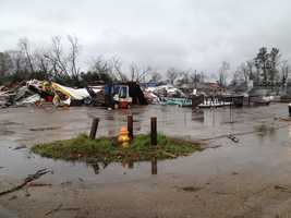 All that is left of a hardware store in Petal.