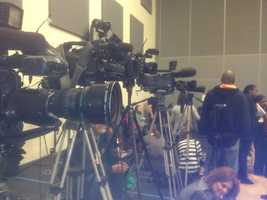 Members of the media are set up at Eastside Elementary School.