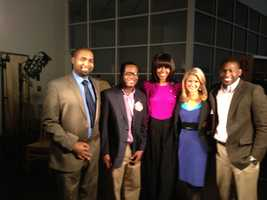 16 WAPT News Director Ben Hart, Sports reporter Ray Coleman, first lady Michelle Obama, morning anchor Megan West and photojournalist Joshua Jackson.