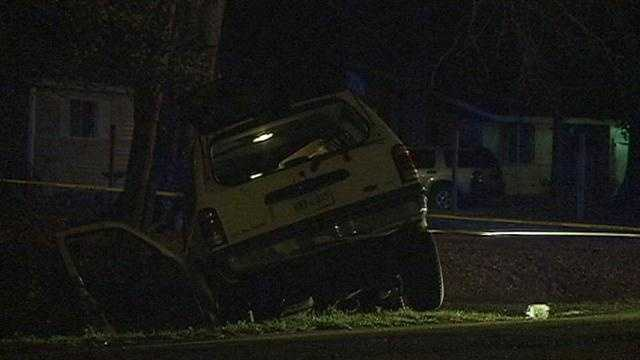 SUV crashes in front of house&#x3B; Man hospitalized nearby