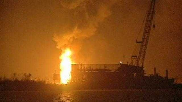 Tug boat hits barge