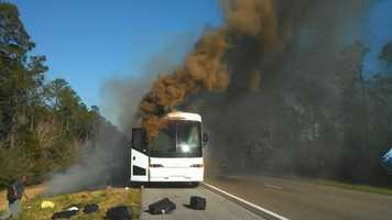 Some people suffered minor injuries, said a passenger on the bus.