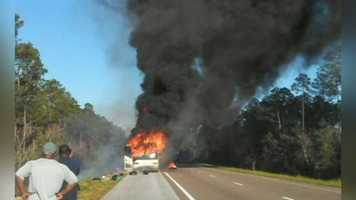The bus may have blown a tire, which led to the fire.