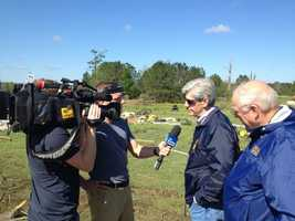 Gov. Bryant and MEMA Director Robert Latham speaking to The Weather Channel about tornado damage and recovery.