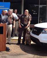 """K-9 """"Chappy"""" was able to detect drugs inside the black truck, Sheriff Tyrone Lewis says."""