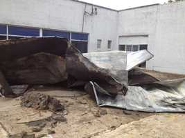 The storm ripped the roof off the old Blackburn building in Vicksburg.