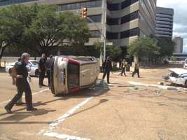 The crash happened Wednesday afternoon at Lamar and Pearl streets.