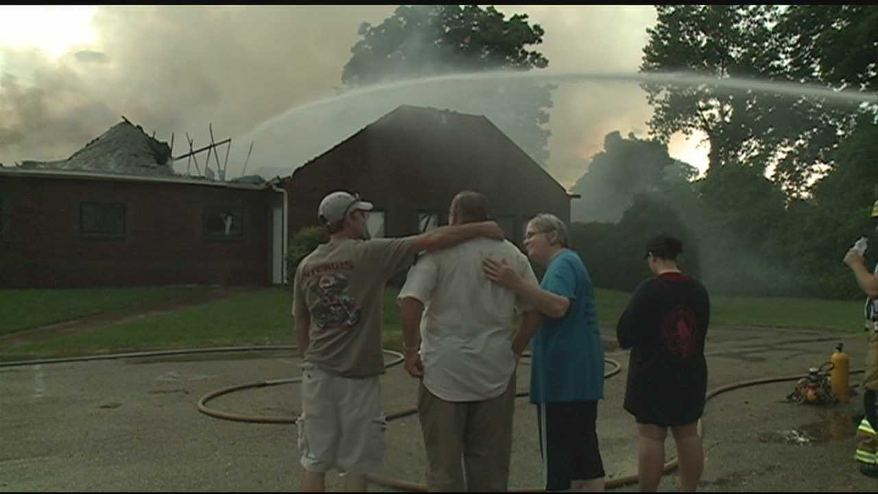 Eagle Lake Baptist Church burns in a fire believed to have been sparked by lightning.