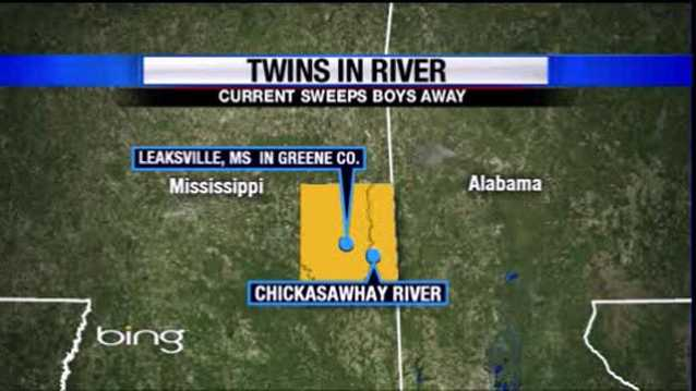 twins in river map