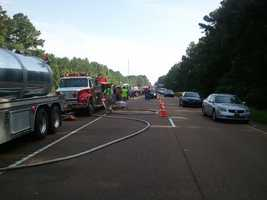 A FedEx 18-wheeler overturned and caught fire off Interstate 55 southbound in Wesson.