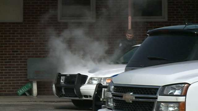 A Pearl police car overheats because of the extreme temperatures on Tuesday. Most of Central Mississippi is under a heat advisory through Wednesday evening.