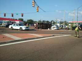 Several people were injured in the crash, which happened before 6 p.m.