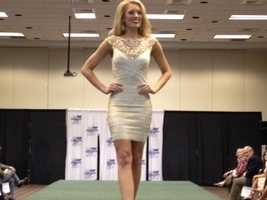 Miss Mississippi Chelsea Rick models the clothes she'll wear during the Miss America pageant.