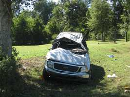 A Ford Expedition went off Highway 465 and overturned.