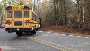 A 16-year-old Velma Jackson High School student and a school bus driver were injured when a car collided with the bus on Highway 17.