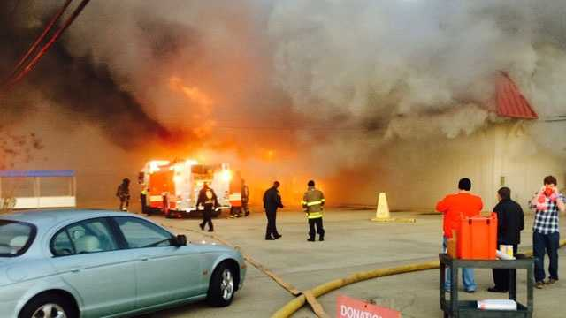The Salvation Army building on Presto Lane was engulfed in flames.