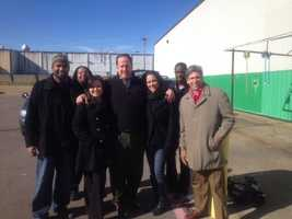 The 16 WAPT News Team, including Keegan Foxx, Scott Simmons, Tiffaney Bradley and 16 WAPT General Manager Stuart Kellogg, help out during the Fire Drive for the Salvation Army.