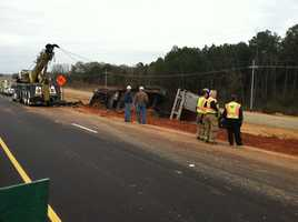 A truck hauling bananas overturns on Interstate 55 in Madison County near the Natchez Trace.